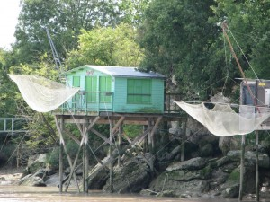 One of the many fishing huts on stilts