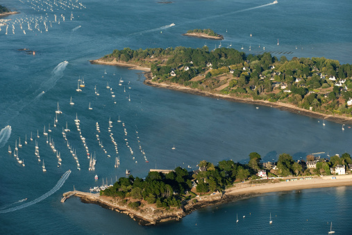 France, Morbihan, Ile aux Moines, aerial view of boats moored in water